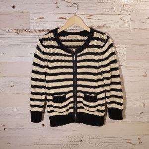 LOFT warm stripe full-zip sweater